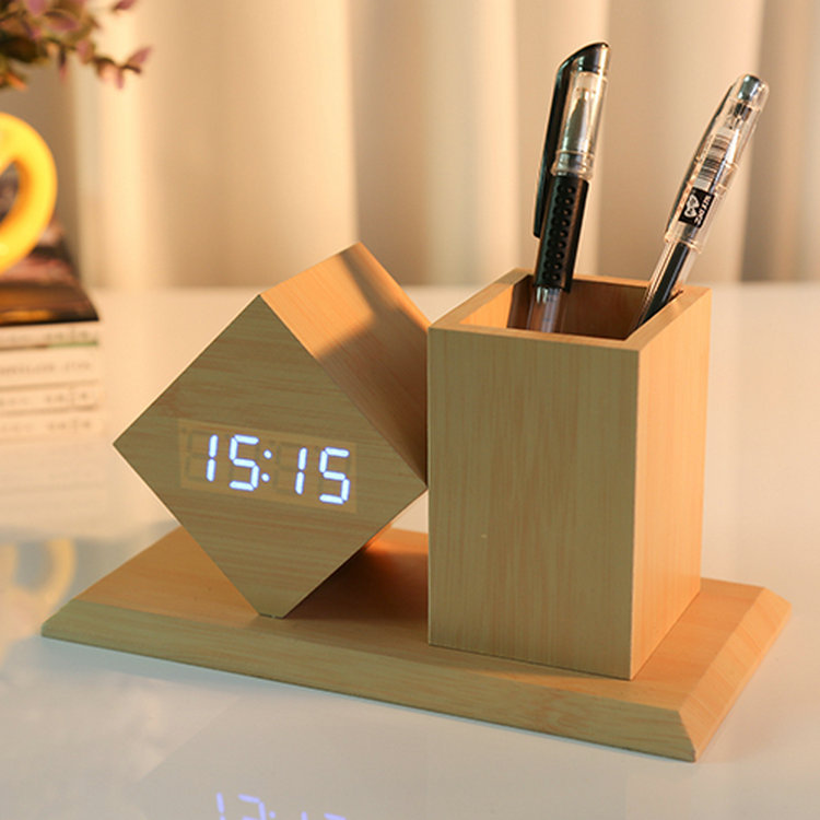 Wooden Desk Clock Pen Holder Ipower Products Philippines